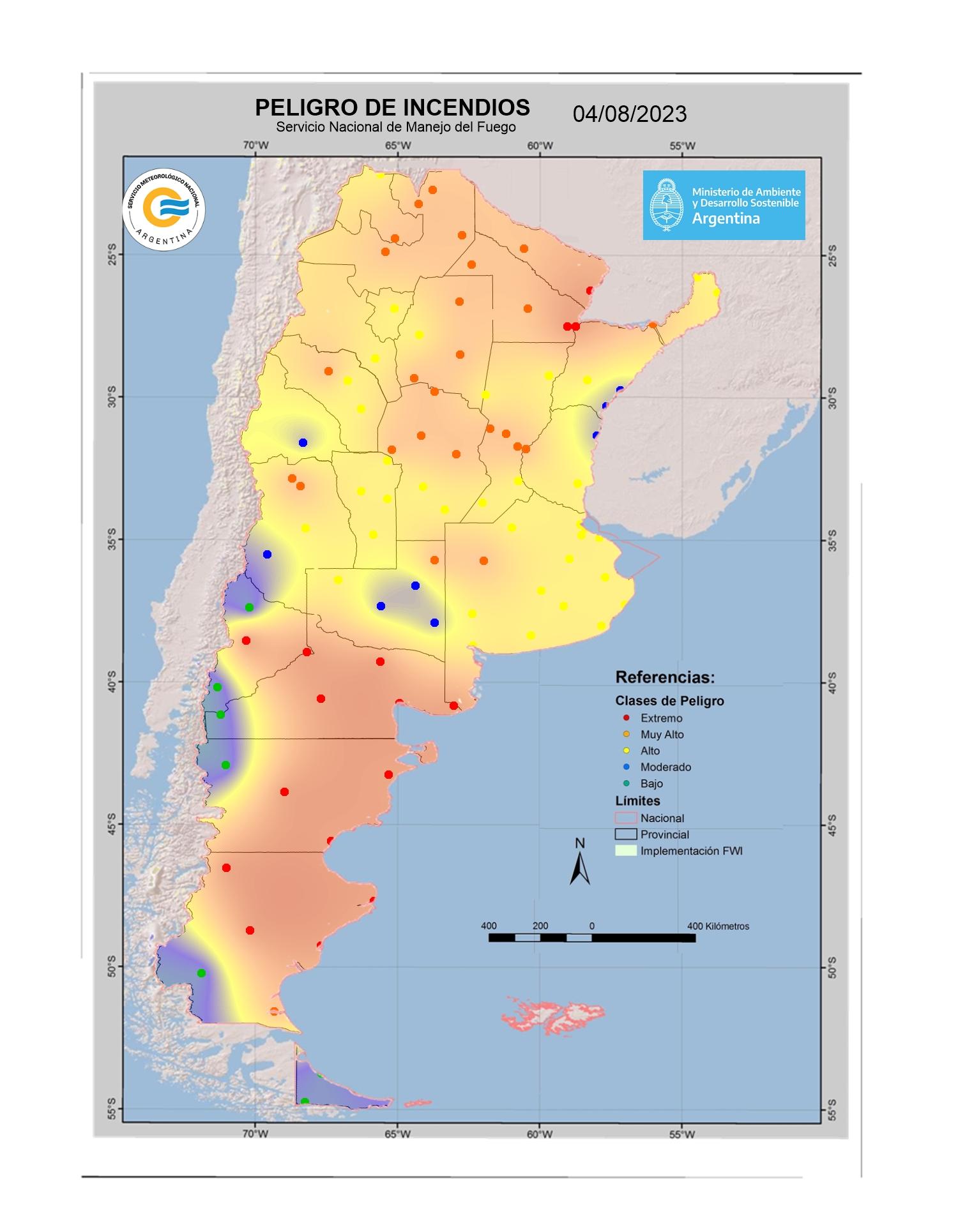 Mapa de indice de Peligro de Incendio