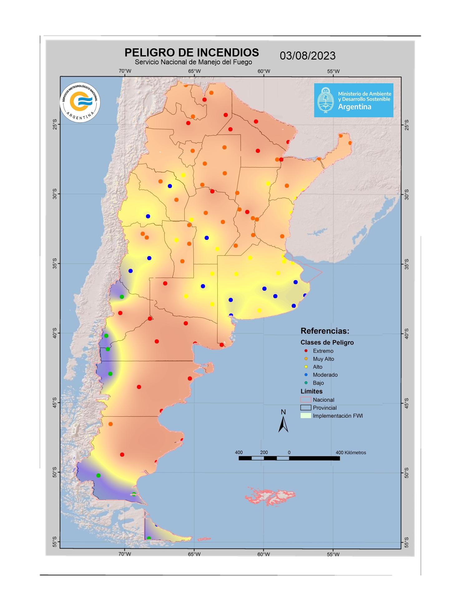 Mapa de indice de Peligro de Incendio DIA +2 a 48hs